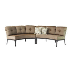 Sunvuepatio   Cast Aluminum Curved Outdoor Sofa, 2 Piece Set, Desert Bronze