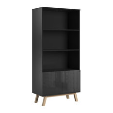 Vero Black 3-Shelf Scandinavian Bookcase, Gloss