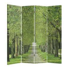 4-Panel Folding Room Divider With MDF Frame, Double Sided Forest Print Design
