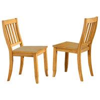 Sunset Trading School House Dining Chair, Set of 2, Light Oak
