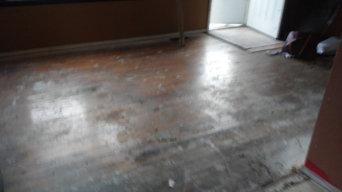Wood floors before and after cleaning and polishing