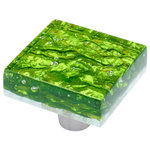 Windborne Studios - Pearl, Emerald, Square Knob - The Pearl Collection is infused with beautiful layers of glass that illuminate radiant iridescent colors. The Emerald square knob is a bright green glass.