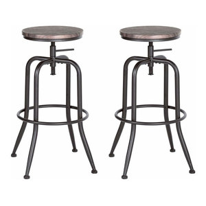 Rustic Set of 2 Bar Stools With Black Metal Frame, Wooden Top Adjustable Height