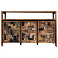 Recycled Teak Wood Mozaik Media Center / Buffet with 3 Wooden Doors