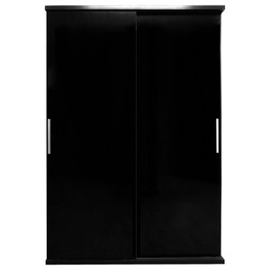 Torino 2 Door Sliding Wardrobe, Black and Black Oak