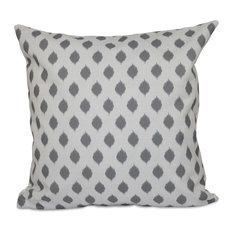 "Cop-Ikat Geometric Print Outdoor Pillow, Classic Gray, 20""x20"""