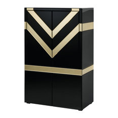 Black Drinks Cabinet With Gold Chevron Detailing