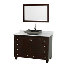 "48"" Acclaim Single Vanity, White Carrera Marble Top, Altair Black Granite Sink"