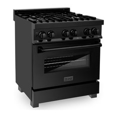"""ZLINE Dual Fuel Range Gas Stove/Electric Oven, Black Stainless Steel, 30"""""""