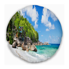 "Takamaka Beach in Mahe Island Modern Seascape Throw Pillow, 20"" Round"