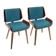 LumiSource Santi DiningChair In Walnut With Turquoise Set Of 2