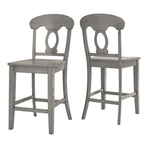 Arbor Hill Napoleon Back Counter Chair, Set of 2, Antique Grey
