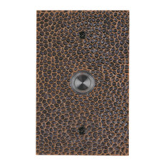 Solid Brass Large Hammered Plate Doorbell, Oil Rubbed Bronze