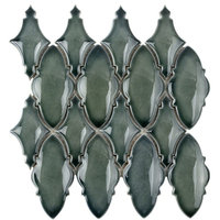 Oracle Valor Random Sized Ceramic Mosaic Tile, Deep Emerald