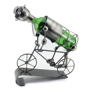 Happy Bicycle Rider metal Wine Bottle Holder Kitchen Decor Character