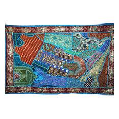 Mogul Interior - Indian Sari Tapestry Blue Wall Throw - Tapestries