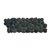 "4""x12"" Charcoal Black Pebble Tile Border"