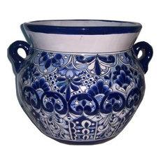 Medium Size Traditional Blue Talavera Ceramic Pot