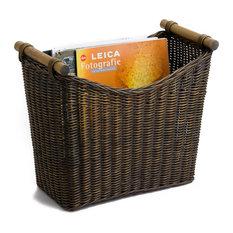 Narrow Wicker Magazine Basket