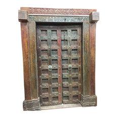mogulinterior - Consigned Antique Doors Brass Floral Patina India Double Door Architecture 18C - Interior Doors