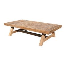 "Recycled Teak Wood Coffee Table - 55"" x 30"""