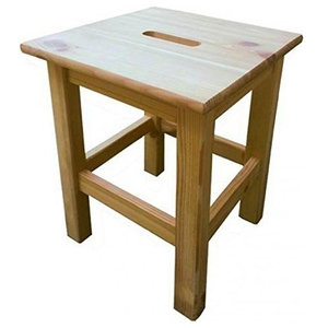 Traditional Stylish Stool, Solid Pine Wood, Square Design