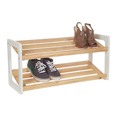 - Shoe Rack - Bamboo & white - Shoeracks