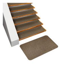 Set of 15 Skid-Resistant Carpet Stair Treads & Matching Landing Rug, Camel Tan