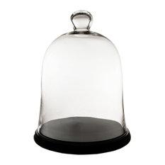 "Glass Dome Cloche Terrarium Bell Jar With Black Wood Base, 16.75"""
