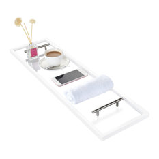 Clear Acrylic Bathtub Caddy with Rust-Proof Stainless Steel Handles