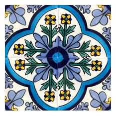 6x6 Mexican Talavera Tiles, Set of 45