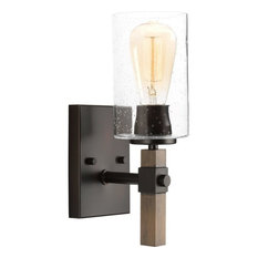 1-Light Vanity Light Glass Wall Sconce Industrial Style Wall Light