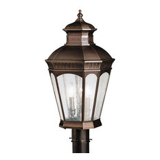 Burnished Bronze and Clear Seedy Glass Exterior Post Top Light