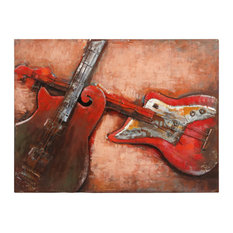 """Acustica"" Guitar Wall Art Primo Mixed Media Hand Painted Iron Wall Sculpture"