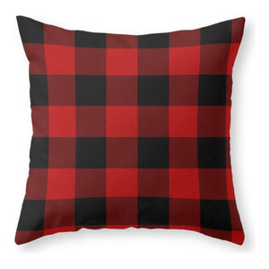 """Red and Black Buffalo Plaid Throw Pillow Cover, 20""""x20"""" With Pillow Insert"""
