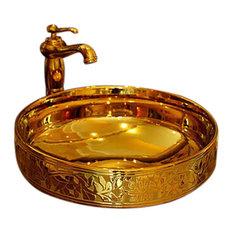 Gela Mosaic Gold High Quality Ceramic Countertop Bathroom Sink