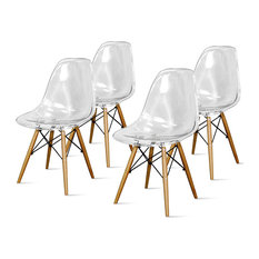 Allen Molded Chairs With Maple Dowel Legs Set Of 4 Transparent