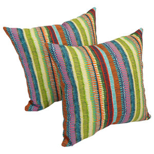 "Spun Polyester 17"" Outdoor Throw Pillows, Set of 2, Multi Stripes"
