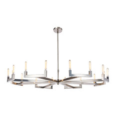 """Beaux 16-Light 72"""" Round Chandelier, Polished Nickel, Without Led Bulbs"""