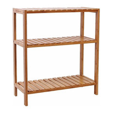 Storage Stand, Natural Bamboo Wood With Round Corners, Traditional Style