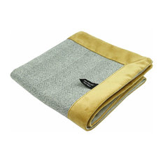 McAlister Textiles Boutique Herringbone Throw, Grey and Ochre, 200x254 Cm