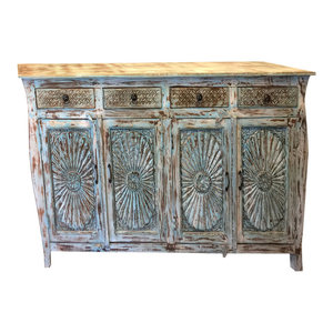 Mogul Interior - Consigned Distressed Blue Sideboards Drawer Chest , Mandala Carved Media Console - Buffets And Sideboards