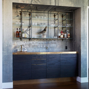 Charred Pine + Brass Bar and Wall Hanging Collector's Shelving Unit