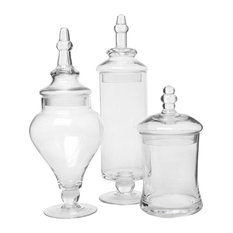 MyGift - Clear Glass Apothecary Jars, 3 Piece Set - Bathroom Canisters