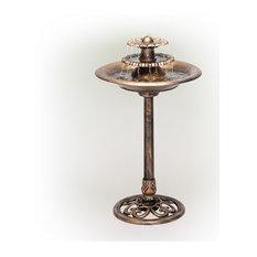 "Alpine Three-Tiered Garden Water Fountain and Birdbath, Bronze Finish, 36"" Tall"
