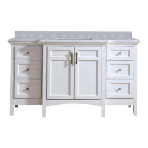 "Luz Single Bathroom Vanity Set, White, 60"""