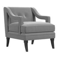 1st Avenue Ceres Velvet Accent Chair With Tufted Back Moondust Gray Armchairs And