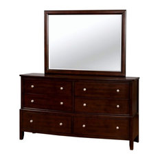 Furniture of America Monaco Dresser with Mirror in Brown Cherry
