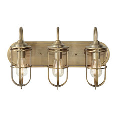 joshua marshal 3 light fixture with die cast zinc shade antique brass brass bathroom lighting fixtures