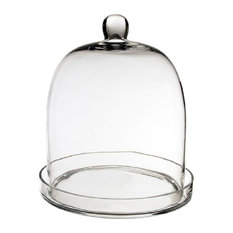 Glass Dome Cloche Bell Jar With Tray, Piece